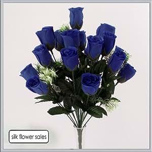 Mazzo da 18 boccioli di rosa artificiali, colore: blu reale, ideale per matrimoni