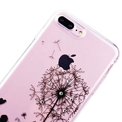 """WE LOVE CASE iPhone 7 Plus 5,5"""" Hülle Weich Silikon iPhone 7 Plus 5,5"""" Schutzhülle Handyhülle Im Durchsichtig Transparent Crystal Clear Diamant Glitzer Funkeln Mandala Muster Handytasche Cover Case Et Löwenzahn Paar"""