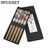 5paia di bacchette di bambù naturale 9in/23cm, riutilizzabile bacchette set per sushi e altri alimenti, Chainese Style mangiare Helper