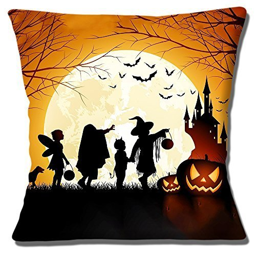 Halloween Szene Kinder Kürbisse Schloss Mond Fledermaus - 40.6cm (40cm) Kissenbezug