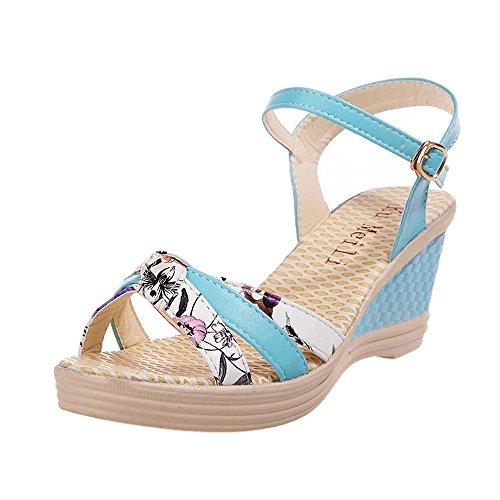 VECDY Damen Sandalen Mode Schuhe Keile Schuhe Sommer Sandalen Platform Toe Schuhe mit hohen Absätzen Mode Flip-Flops