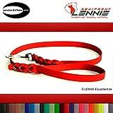 LENNIE BioThane Führleine, 9mm breit, 1,25m lang, Rot, mit Handschlaufe, geflochten
