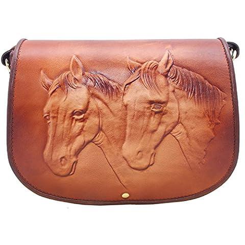 Koson Leather Pferd geprägte echte Kuhledertasche Schultaschen-Schulter-Handtaschen-Kurier-Beutel …