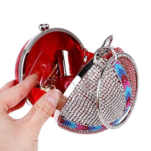 Flada, Poschette giorno donna rosso Red medium Silver