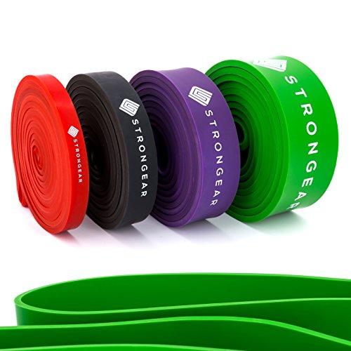 STRONGEAR Premium Widerstandsbänder - Fitnessband, Klimmzughilfe, Resistance Band Loop, Widerstandsband, Fitnessbänder für effektives Functional Training, deinen Bodyweight, Crossfit oder Calisthenics Workout - Premium Qualität hergestellt aus 100% Naturkautschuk (EXTRA STARK (Grün))