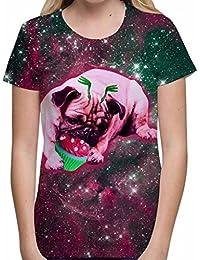 T-shirt Graphique pour Femmes Imprime Par Sublimation Partout Empreinte de Carlin d'Étranger de Petit gâteau T-shirt de Vacances