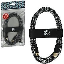 ZedLabz - Cable de Carga USB Trenzado para Nintendo 3DS, 2DS y DSi (Cable de Carga y reproducción Extra Largo), Color Dorado