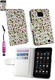 Emartbuy® Stylus Pack Per Samsung Galaxy S2 Plus I9105 Lusso Portafoglio Caso / Copertura / Sacchetto Floreale Rosa / Verde Con Porta Carte Di Credito + Metallico Mini Hot Rosa Stylus + Protezione Dello Schermo Lcd