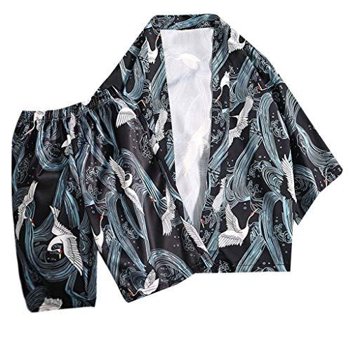 UINGKID Herren Jogginganzug Trainingsanzug Overall Jumpsuit Shirt Hose Fitness Mode-Liebhaber Individualität Print Top Bluse Kimono Hot Spring Kleidung Anzug Premium Bib Overall