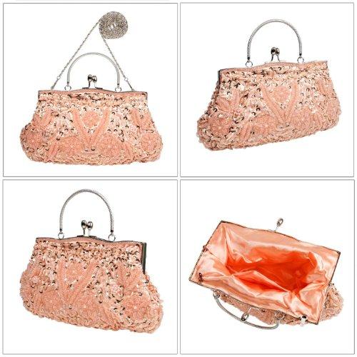 BCM - Borsetta clutch da sera chiusura rigida decorata con paillettes interno in satin Pesca
