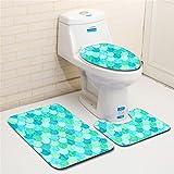ZDDT Alfombrillas de baño de 3 Piezas Alfombrilla de Pedestal Antideslizante + Tapa del Inodoro con Tapa + Alfombrilla de baño (patrón de Escamas de Pescado), B