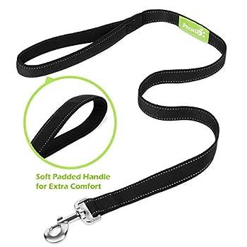 Pecute Hundeleine Doppelleine 2 Hunde Reflektierende Elastische Nylonband 1.6 M Schwarz 9