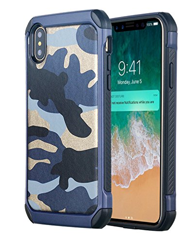 Custodia iPhone X,Custodia iPhone 10,iPhone X Case Snewill [Camo Series] Hybrid Dual Layer Cover Faux Leather Camouflage High Impact Shockproof Armor Defender Case for Apple iPhone X - Camouflage Gree Camouflage Blue
