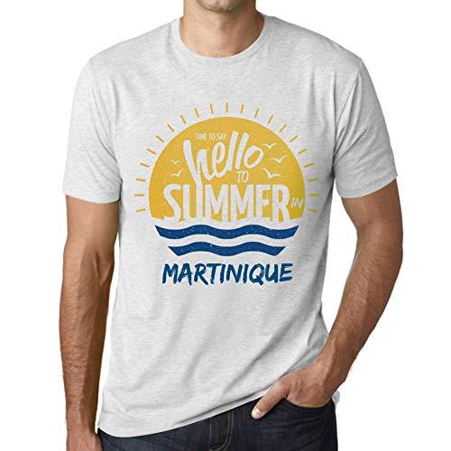 Herren Grafik Tee Shirt Time to Say Hello to Summer In Martinique Weiß Gesprenkelt -