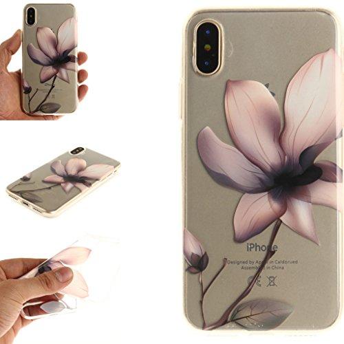 """Hülle für Apple iPhone X , IJIA Transparent Bunte Blumen TPU Weich Silikon Stoßkasten Cover Handyhülle Schutzhülle Bumper Handytasche Schale Case Tasche für Apple iPhone X (5.8"""") TX42"""