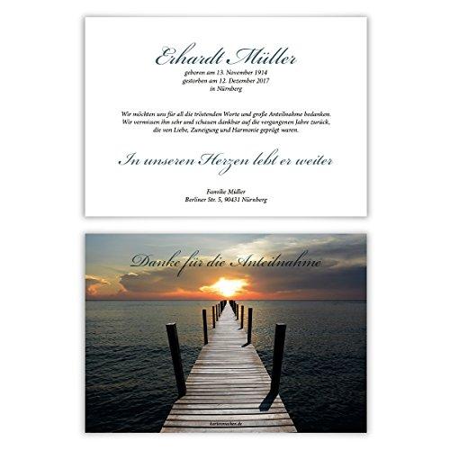 Danksagungskarten (10 Stück) Trauer Dankeskarten Individuell Trauerkarten - Licht am Ende des Stegs
