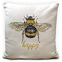 Bee Happy, Bumble Bee Gift Cushion Cover, Heavy Linen Material, 40cm 16 inches