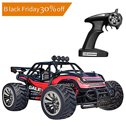 Upgraded Vatos RC Car Remote Control Car 1:16 Scale 2.4Ghz Racing Truck Off Road Electric High Speed Monster Truck RC Buggy Race Crawler 2WD 50M Distance Vehicle Toy Radio Controlled Car With 4 Lock Catch