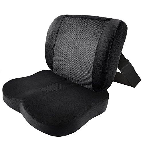 Antaprcis Memory Schaum Sitzkissen und Lendenkissen System, Orthopädisches Druckentlastungskissen für Büro Auto Rollstuhl Reise Schaum-sofa-seat-kissen