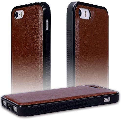 Apple iPhone 5 5S SE Hülle, SHANSHUI 2in1 Doppelschutz Handyhülle mit RFID Schutz, Kartenfach für Bankarte und Geldschein, Geldbeutel-Style mit Magnetverschluss(Blau) Braun