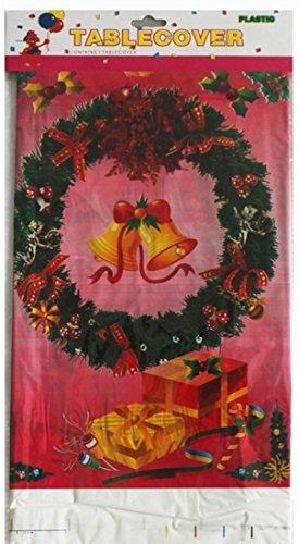 Salome Idea 3er-Pack Rechteckige Tischdecke für Geburtstagsparty/Bankett/Anlass, Einweg-Tischdecken, PE Tischdecke, Bedruckt, 177,8 x 106,7 cm Christmas-Jingle Bell