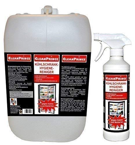 CleanPrince Kühlschrank Hygiene Reiniger 2.500 ml (2,5 Liter) Kühlschrankreiniger Reiniger Bakterien Desinfektion Keime lebensmittelsicher Kühltheke Kühlung Kühlanlagen Kühlaufbewahrung säubern Kühlschrankreinigung Kühlschrankreiniger Hygienereiniger Lebensmittel geruchsneutral Sgrassatore universale Disinfettante Desinfektionsmittel Kühlschrankhygienereinigungsmittel SIE ERHALTEN 2 LITER IM KANISTER UND 500 ML IN DER SPRÜH- UND NACHFÜLLFLASCHE. KOMPLETTMENGE = 2,5 LITER REINIGER.