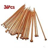 Set 36 Einzel-spitzen Stricknadeln aus Bambus von 18 verschiedenen Groessen