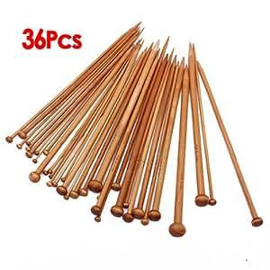 niceEshop Single Pointed Carbonized Bamboo Crochet Hooks Needles for Weave Knitting (Set of 36)