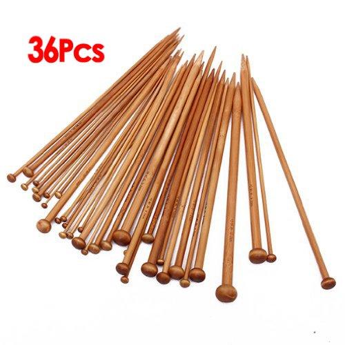 Set 36 Einzel-spitzen Stricknadeln aus Bambus von 18 verschiedenen Groessen karbonisiert
