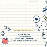 Einschulung Einladungen, Rechenblock 5 Karten, Quadratische Klappkarte 145x145 inkl. weiße Umschläge, Orange -