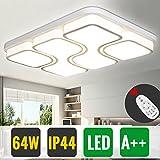 HG 64W Dimmbar mit Fernbedienung LED Wohnzimmer Deckenleuchte IP44 Modern Weiß Wohnzimmerlampe Rechteckig Büros Leuchte Esszimmerlampe Küchenleuchte [Energieklasse A++]