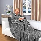Gräfenstayn Kuscheldecke mit Ärmeln 200 x 150 cm TV-Decke in verschiedenen Farben Sofadecke (Grau)