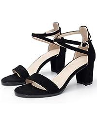 YMFIE Talon carré dame cheville avec toe toe sandales summer fashion party ball chaussures,38 EU,un