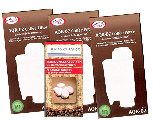Human-Wellness 3 x AQK-02 Wasserfilter ersetzen Saeco Nr. CA6702/00 - Brita  Intenza+...