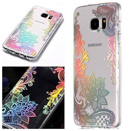 Samsung Galaxy S7 Edge Hülle, MHHQ Kristall Funkeln Glitzer Laser Handyhülle Ultra Dünn Schutzhülle Silikon Transparent mit Muster Weich TPU Case Backcover für Samsung Samsung Galaxy S7 Edge -9