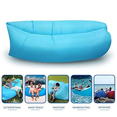 Air Lounger, Blusmart Outdoor Inflatable Hangout Portable Bag Lounger Sofa Suitable For Camping, Beach Couch Sofa, Dream Chair Garden Cushion Pool Party Sleeping Air Bed (Blue)