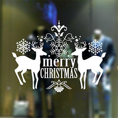 Mbslive christmas deer wall stickers adesivo rimovibile murale holiday series decor per porta di vetro vetrina l' alce renna decorazione white