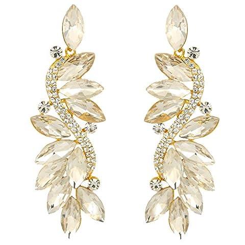 EVER FAITH® Austrian Crystal Marquise Shape Bridal Pierced Earrings Gold-Tone Clear N05723-7