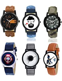 KNACK KNK-A1 New Combo Of Genuine Leather Belt Watches For All Festival Watches For Boys And Girls