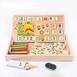 #9: Happy GiftMart Multi Functional Wooden Maths Toy, Number Blocks, Wooden Calculator, Blackboard, Sticks Montessori Mehtod for Kids
