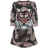 BEZLIT Mädchen Tieger Wende-Pailletten Tunika Langarm Kleid Camouflage 21568, Farbe:Rosa, Größe:128
