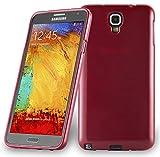 Cadorabo DE-104619 Coque de Protection en Silicone TPU pour Samsung Galaxy Note 3 Neo (N7505) Aspect Acier Inoxydable brossé Rouge