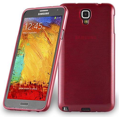Cadorabo DE-104619 Samsung Galaxy Note 3 NEO (N7505) Handyhülle aus TPU Silikon in gebürsteter Edelstahloptik (Brushed) Rot