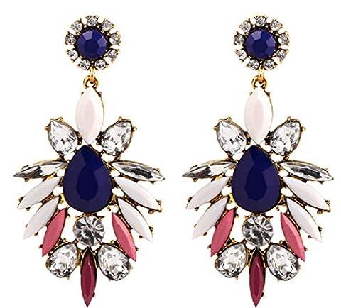 SaySure - Flower Stud Earrings Blue White Purple Crystal Water