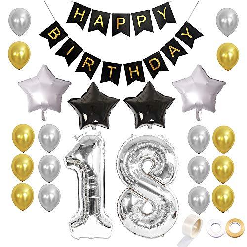 Juland 18. Geburtstag Luftballons Dekoration Happy Birthday Banner Party Zubehör Sets für Männer Boy Folienballons Gold Silber Schwarz Dekor mit Folienballon Star Latex Ballon (Geburtstag Banner Boy)