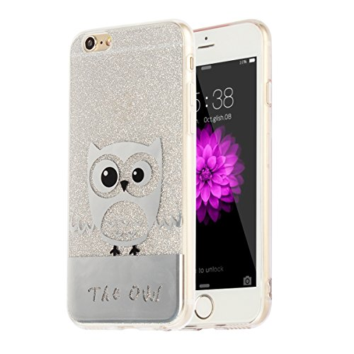 """MOONCASE iPhone 6s Coque, Bling Glitter Motif Etui TPU Silicone Antichoc Housse Case pour iPhone 6 / iPhone 6s (4.7"""") (Ours - Or) Hibou - Argent"""