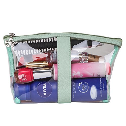 UberLyfe Transparent Waterproof Plastic PVC Travel Cosmetic Pouch Makeup Pouch Perfect for Carry Lip Pencil / Makeup kit / Makeup Brushes / Cosmetics Pouch for Women & Girls (1688-TPGN-L)