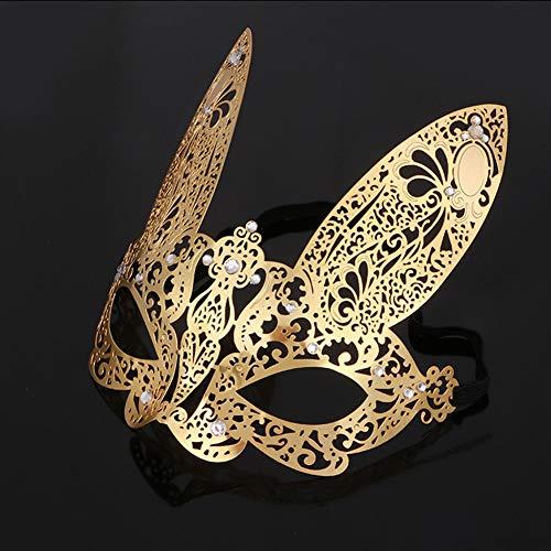 GJY Metall Maske Ball Prinzessin halb Gesicht Maske Halloween Party Party Maske Requisiten Männer und Frauen,Gold