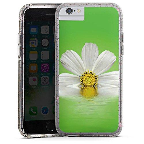 Apple iPhone 8 Bumper Hülle Bumper Case Glitzer Hülle Daisy Flower Blume Bumper Case Glitzer rose gold