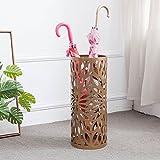 XRXY Soporte de paraguas tallado arte de hierro simple / metal cubo de paraguas creativo hogar / sombrilla de almacenamiento balcón paraguas de puerta (3 colores disponibles) ( Color : Oro )